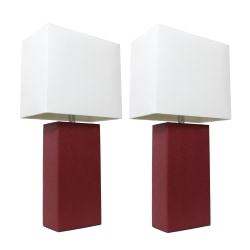 """Elegant Designs Modern Leather Table Lamps, 21""""H, White Shade/Red Base, Set Of 2 Lamps"""