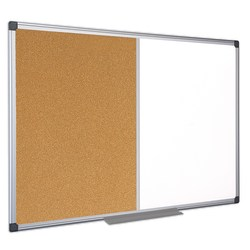 "MasterVision® Cork/Non-Magnetic Melamine Dry-Erase Whiteboard Combination Board, 36"" x 48"", Silver Aluminum Frame"