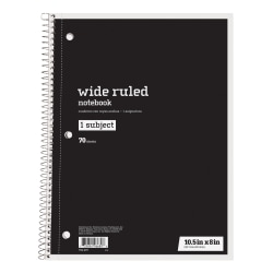"""Just Basics® Spiral Notebook, 8"""" x 10 1/2"""", Wide Ruled, 140 Pages (70 Sheets), Black"""