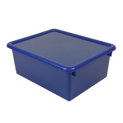 """Stowaway® 5"""" Letter Box, With Lid, 5""""H x 10 1/2""""W x 13""""D, Blue, Pack Of 3"""
