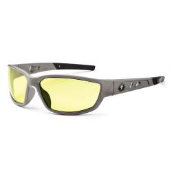 Ergodyne Skullerz® Safety Glasses, Kvasir, Matte Gray Frame, Yellow Lens