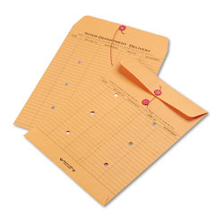 "Quality Park Inter-Department Envelopes, 10"" x 13"", 2-Side Narrow-Rule, 20% Recycled, Brown, Pack Of 100"