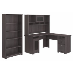 "Bush Furniture Cabot 60""W L-Shaped Desk With Hutch And 5-Shelf Bookcase, Heather Gray, Standard Delivery"