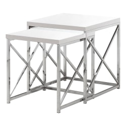 """Monarch Specialties Mila Nesting Tables, 21-1/4""""H x 19-3/4""""W x 19-3/4""""D, Glossy White/Chrome, Set Of 2 Tables"""