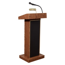Oklahoma Sound® The Orator Lectern With Headset Wireless Microphone, Medium Oak