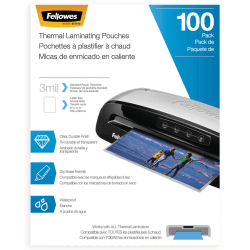 "Fellowes® Laminating Pouches, Letter, 3 mil, 11 1/2"" x 9"", Clear, Pack Of 100"