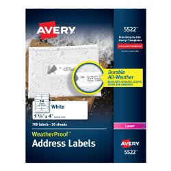 """Avery® WeatherProof Mailing Labels with TrueBlock Technology, AVE5522, Permanent Adhesive, 1 21/64""""W x 4""""L, Rectangle, Laser, White, Polyester, 14 Per Sheet, Pack Of 700"""