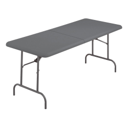 "Iceberg IndestrucTable TOO Bifold Table - Rectangle Top - 60"" Table Top Length x 30"" Table Top Width x 2"" Table Top Thickness - 29"" Height - Charcoal, Powder Coated - Tubular Steel"