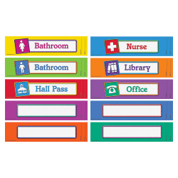 """Learning Resources Hall Passes Board - 5.3"""" Width x 2.3"""" Height x 9.5"""" Length - 10 / Set"""