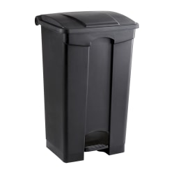 Safco® Plastic Step-On Receptacle, 23 Gallon, Black