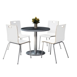"""KFI Studios Jive Round Pedestal Table With 4 Stacking Chairs, 29""""H x 36""""W x 36""""D, White/Graphite Nebula"""