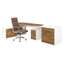 """Bush Business Furniture Jamestown 72""""W L-Shaped Desk With Lateral File Cabinet And High-Back Office Chair, Fresh Walnut/White, Standard Delivery"""