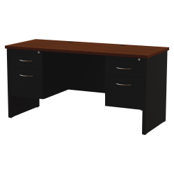 "WorkPro® Modular 60""W x 24""D Double Pedestal Desk, Black/Walnut"