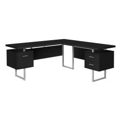 "Monarch Specialties Dallas 71""W L-Shaped Computer Desk, Black"