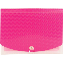 """Smead Letter Expanding File - 8 1/2"""" x 11"""" - 12 Pocket(s) - 12 Divider(s) - Polypropylene - Multi-colored, Pink, Clear - 1 Each"""