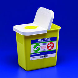 "ChemoSafety™ Container With Hinged Lid, 2 Gallon Capacity, 10 1/2""W x 10""H x 7 1/4""D, Yellow/White, Case Of 20"