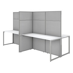 """Bush Business Furniture Easy Office 60""""W 4-Person Cubicle Desk Workstation With 66""""H Panels, Pure White/Silver Gray, Standard Delivery"""