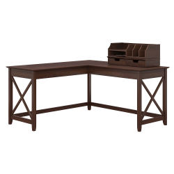 Bush Furniture Key West 60W L Shaped Desk with File Cabinets Bing Cherry Bookcase and Desktop Organizers