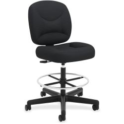 HON® ValuTask Low-Back Task Stool, Black Seat/Black/Chrome Frame, Quantity: 1