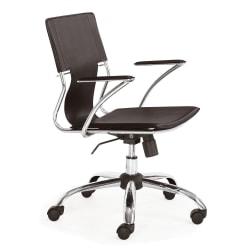 Zuo® Modern Trafico Leather Executive Chair, Espresso/Chrome