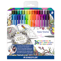 Staedtler® Johanna Basford Tri-Plus Fineliner Markers, 0.3 mm, Assorted Colors, Pack Of 36