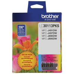 Brother LC30113PKS Color Ink Cartridges, Pack Of 3 Cartridges