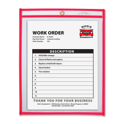 "C-Line® Neon Color Stitched Shop Ticket Holder, 9"" x 12"", Neon Red"