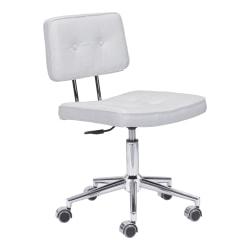 Zuo Modern® Series Office Chair, White/Chrome