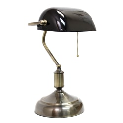 "Simple Designs Executive Banker's Desk Lamp, 14-3/8""H, Black Shade/Antique Nickel Base"