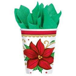 Amscan Christmas Paper Cups, 9 Oz, Winter Botanical, Pack Of 100 Cups