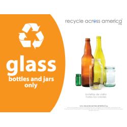 """Recycle Across America Glass Standardized Recycling Label, GLASS-8511, 8 1/2"""" x 11"""", Orange"""