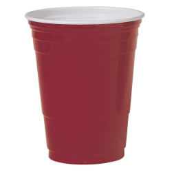 Solo® Plastic Party Cups, 16 Oz, Red, Box Of 50 Cups