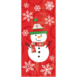 """Amscan Christmas Large Cellophane Party Bags, 11-1/2""""H x 5""""W x 3-1/4""""D, Snowman, Pack Of 120 Bags"""