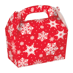 """Amscan Christmas Snowflake Gable Boxes, 3-3/4"""" x 6"""" x 6-1/4"""", Red, 5 Boxes Per Pack, Case Of 4 Packs"""