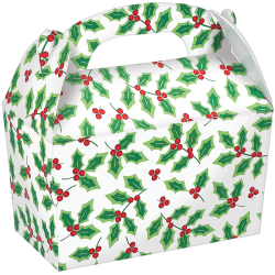 """Amscan Christmas Large Gable Boxes, 7""""H x 6""""W x 3-3/4""""D, Holly, Pack Of 20 Boxes"""