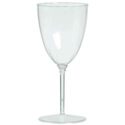 Amscan Premium Plastic Wine Glasses, 8 Oz, Clear, 8 Glasses Per Pack, Case Of 2 Packs