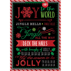 "Amscan Christmas Jumbo Bags With Gift Tags, 28""H x 20""W x 7""D, Whimsical Chalkboard Carols, Pack Of 5 Bags"
