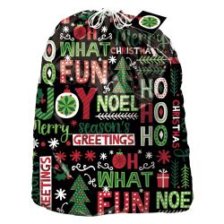"""Amscan Christmas Joyful Holiday Gift Sacks, 44""""H x 36""""W x 30""""D, Multicolor, Set Of 3 Gift Sacks"""