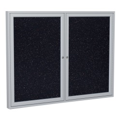 """Ghent 2-Door Enclosed Recycled Rubber Bulletin Board, 36"""" x 60"""", Confetti Satin Aluminum Frame"""