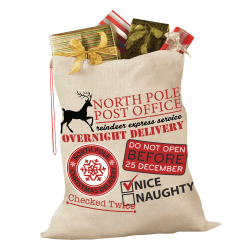"""Amscan Christmas North Pole Post Office Fabric Gift Sack, 36"""" x 44"""", Beige/Red"""