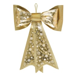 """Amscan Christmas Metallic Deluxe Bows, 21"""" x 18"""", Gold, Pack Of 2 Bows"""