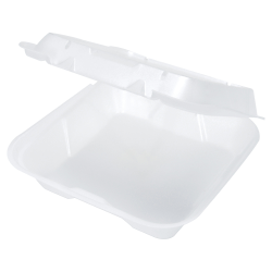 """Genpak® Snap-It® Vented Hinged Food Containers, 3""""H x 9 1/4""""W x 9 1/4""""D, White, 100 Containers Per Bag, Carton of 2 Bags"""
