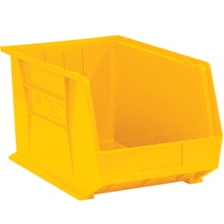"Office Depot® Brand Plastic Stack And Hang Bin Boxes, 10 3/4"" x 8 1/4"" x 7"", Yellow, Pack Of 6"