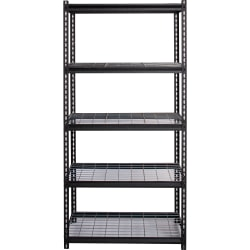"""Lorell Wire Deck Shelving - 72"""" Height x 36"""" Width x 18"""" Depth - Recycled - Black - Steel - 1Each"""