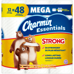 Charmin® Essentials Strong™ 1-Ply Toilet Paper, White, 300 Sheets x 20 Rolls