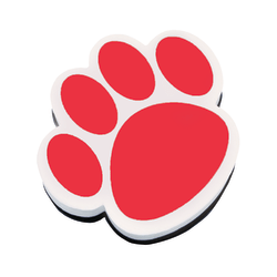 """Ashley Productions Magnetic Whiteboard Erasers, 3 3/4"""", Red Paw, Pack Of 6"""