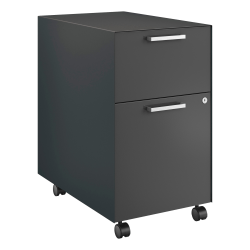 "HON® Fuse Collection 23-1/4""D 2-Drawer Letter-Size Metal Mobile Vertical Box/File Pedestal, Large, Charcoal"
