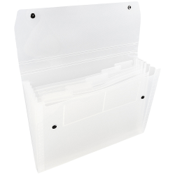 """JAM Paper® 6-Pocket Expanding File With Snap Closure, 1"""" Expansion, 9"""" x 13"""", Clear"""