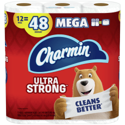 Charmin® Ultra Strong® 2-Ply Toilet Paper Mega Rolls, 286 Sheets Per Roll, Case Of 12 Rolls