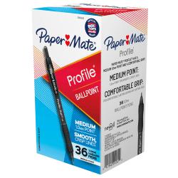Paper Mate Ballpoint Pen, Profile Retractable Pen, Medium Point (1.0mm), Black, 36 Count